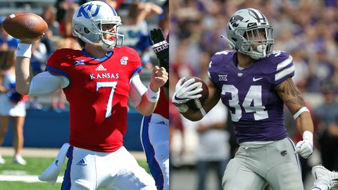 Kansas quarterback Peyton Bender and Kansas State running back Alex Barnes