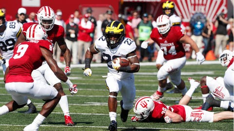 Oct 14, 2017; Bloomington, IN, USA;  Michigan Wolverines running back Karan Higdon (22) runs with the ball against the Indiana Hoosiers at Memorial Stadium. Mandatory Credit: Brian Spurlock-USA TODAY Sports