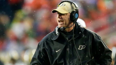 Purdue coach Jeff Brohm yells to his team during the second half of an NCAA college football game against Wisconsin Saturday, Oct. 14, 2017, in Madison, Wis. Wisconsin won 17-9. (AP Photo/Andy Manis)