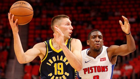 Oct 9, 2017; Detroit, MI, USA; Indiana Pacers forward Jarrod Uthoff (19) drives to the basket against Detroit Pistons guard Langston Galloway (9) during the second quarter at Little Caesars Arena. Mandatory Credit: Raj Mehta-USA TODAY Sports