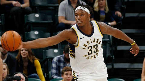 Oct 10, 2017; Indianapolis, IN, USA; Indiana Pacers center Myles Turner (33) chases after a loose ball against Maccabi Hafia guard Frederic Bourdillon (7) at Bankers Life Fieldhouse. Mandatory Credit: Brian Spurlock-USA TODAY Sports