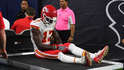 Oct 8, 2017; Houston, TX, USA; Kansas City Chiefs wide receiver Chris Conley (17) is carted off the field during the fourth quarter against the Houston Texans at NRG Stadium. Mandatory Credit: Shanna Lockwood-USA TODAY Sports