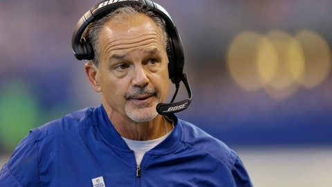 FILE - In this Oct. 22, 2017, file photo, Indianapolis Colts head coach Chuck Pagano watches from the sidelines during the first half of an NFL football game against the Jacksonville Jaguars in Indianapolis. Pagano continues to blame himself for his team's woes. Fans are increasingly wanting to blame him, too. (AP Photo/AJ Mast, File)