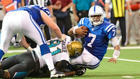 Oct 22, 2017; Indianapolis, IN, USA; Indianapolis Colts quarterback Jacoby Brissett (7) is sacked  during the second half by Jacksonville Jaguars defensive end Yannick Ngakoue (91) at Lucas Oil Stadium. Mandatory Credit: Thomas J. Russo-USA TODAY Sports