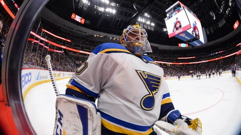 Oct 19, 2017; Denver, CO, USA; St. Louis Blues goalie Carter Hutton (40) during the second period against the Colorado Avalanche at the Pepsi Center. Mandatory Credit: Ron Chenoy-USA TODAY Sports