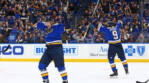 Oct 28, 2017; St. Louis, MO, USA; St. Louis Blues right wing Scottie Upshall (9) and right wing Dmitrij Jaskin (23) celebrate a goal scored against Columbus Blue Jackets goalie Joonas Korpisalo (not pictured) during the second period at Scottrade Center. Mandatory Credit: Billy Hurst-USA TODAY Sports