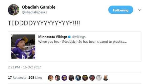 """Obadiah Gamble, Vikings fan/""""Hey Teddy"""" singer"""