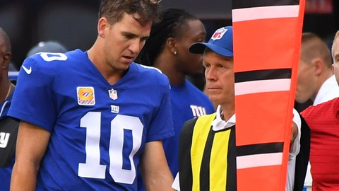 Oct 8, 2017; East Rutherford, NJ, USA;  New York Giants quarterback Eli Manning (10) after throwing a game clinching interception late in the 4th quarter against the Chargers at MetLife Stadium. Mandatory Credit: Robert Deutsch-USA TODAY Sports
