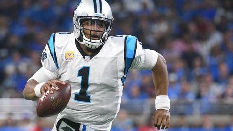 Oct 8, 2017; Detroit, MI, USA; Carolina Panthers quarterback Cam Newton (1) runs the ball during the third quarter against the Detroit Lions at Ford Field. Mandatory Credit: Tim Fuller-USA TODAY Sports