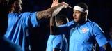 PHOTOS: Carmelo, George Make Thunder Debuts Tuesday night vs. Rockets