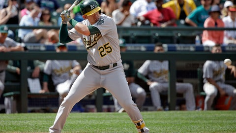 Oakland Athletics' Ryon Healy watches the last pitch go past for a strikeout to end a baseball game against the Seattle Mariners in the ninth inning Sunday, July 9, 2017, in Seattle. (AP Photo/Elaine Thompson)