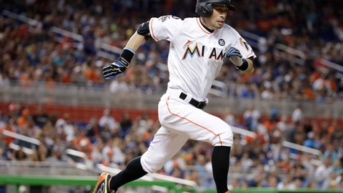 Miami Marlins' Ichiro Suzuki runs to first as he grounds out during the seventh inning of a baseball game against the Atlanta Braves, Saturday, Sept. 30, 2017, in Miami. The Marlins won 10-2. (AP Photo/Lynne Sladky)