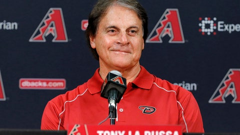 FILE - In this May 17, 2014, file photo, Tony La Russa, newly hired as chief baseball officer for the Arizona Diamondbacks, speaks to reporters after being introduced Saturday, May 17, 2014, in Phoenix. La Russa is leaving the Arizona Diamondbacks organization.  La Russa served as chief baseball officer from 2015 to 2016 and became chief baseball analyst when the new regime of general manager Mike Hazen and manager Torey Lovullo arrived last spring.  (AP Photo/Matt York, File)