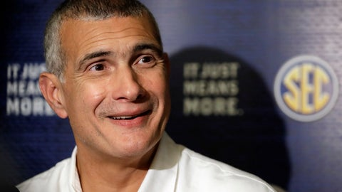 South Carolina coach Frank Martin answers questions during the Southeastern Conference men's NCAA college basketball media day Wednesday, Oct. 18, 2017, in Nashville, Tenn. (AP Photo/Mark Humphrey)