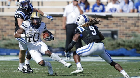 Duke's Jeremy McDuffie (9) chases Pittsburgh's Quadree Henderson (10) during the second half of an NCAA college football game in Durham, N.C., Saturday, Oct. 21, 2017. Pittsburgh won 24-17. (AP Photo/Gerry Broome)
