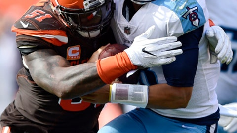 Cleveland Browns outside linebacker Jamie Collins (51) sacks Tennessee Titans quarterback Marcus Mariota (8) in the first half of an NFL football game, Sunday, Oct. 22, 2017, in Cleveland. (AP Photo/David Richard)