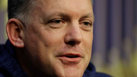 Houston Astros manager A.J. Hinch talks to the media during a World Series baseball news conference, Thursday, Oct. 26, 2017, in Houston, Texas. Houston is set to face the Los Angeles Angels in Game 3, Friday. (AP Photo/Eric Gay)