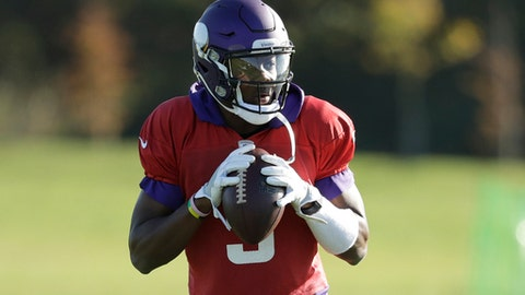 Minnesota Vikings quarterback Teddy Bridgewater takes part in an NFL training session at the London Irish rugby team training ground in the Sunbury-onThames suburb of south west London, Friday, Oct. 27, 2017. The Minnesota Vikings are preparing for an NFL regular season game against the Cleveland Browns in London on Sunday. (AP Photo/Matt Dunham)