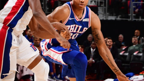 DETROIT, MI - OCTOBER 23: Markelle Fultz #20 of the Philadelphia 76ers drives against the Detroit Pistons on October 23, 2017 at Little Caesars Arena in Detroit, Michigan. NOTE TO USER: User expressly acknowledges and agrees that, by downloading and/or using this photograph, User is consenting to the terms and conditions of the Getty Images License Agreement. Mandatory Copyright Notice: Copyright 2017 NBAE (Photo by Chris Schwegler/NBAE via Getty Images)
