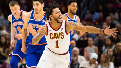 CLEVELAND, OH - OCTOBER 29: Derrick Rose #1 of the Cleveland Cavaliers reacts to being called for a foul during the first half against the New York Knicks at Quicken Loans Arena on October 29, 2017 in Cleveland, Ohio. NOTE TO USER: User expressly acknowledges and agrees that, by downloading and/or using this photograph, user is consenting to the terms and conditions of the Getty Images License Agreement. (Photo by Jason Miller/Getty Images)