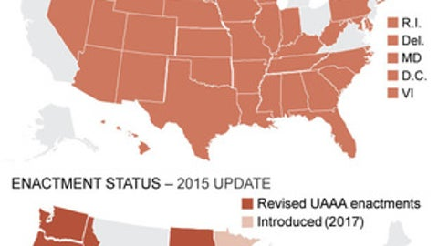 Graphic looks at U.S. map that shows states and Uniform Athlete Agents Act regulations