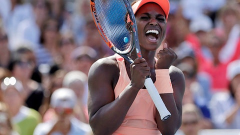 FILE - In this Sept. 1, 2017, file photo, Sloane Stephens, of the United States, reacts after defeating Ashleigh Barty, of Australia, in the third round of the U.S. Open tennis tournament in New York. Stephens, the U.S. Open champion, will lead the United States against Belarus in the Fed Cup final this month in Minsk, Belarus, the U.S. Tennis Association announced Wednesday, Nov. 1, 2017.  (AP Photo/Michael Noble Jr., File)