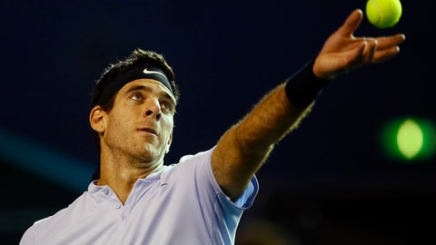 Juan Martin Del Potro of Argentina serves the ball to Joao Sousa of Portugal during the Paris Masters tennis tournament at the Bercy Arena in Paris, France, Wednesday, Nov. 1, 2017. (AP Photo/Francois Mori)