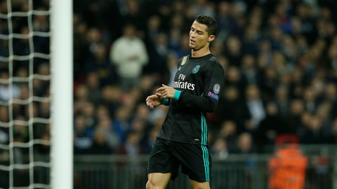 Real Madrid's Cristiano Ronaldo dejectes after missing a scoring chance during a Champions League Group H soccer match between Tottenham Hotspurs and Real Madrid at the Wembley stadium in London, Wednesday, Nov. 1, 2017. (AP Photo/Tim Ireland)