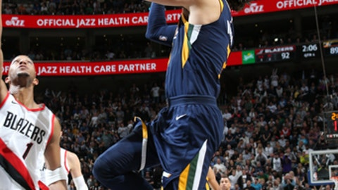 SALT LAKE CITY, UT - NOBEMBER 1: Ricky Rubio #3 of the Utah Jazz goes to the basket against the Portland Trail Blazers on November 1, 2017 at vivint.SmartHome Arena in Salt Lake City, Utah. NOTE TO USER: User expressly acknowledges and agrees that, by downloading and or using this Photograph, User is consenting to the terms and conditions of the Getty Images License Agreement. Mandatory Copyright Notice: Copyright 2017 NBAE (Photo by Melissa Majchrzak/NBAE via Getty Images)