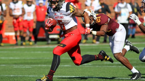 FILE - In this Sept. 30, 2017, file photo, Maryland running back Ty Johnson (6) runs away from Minnesota linebacker Kamal Martin (21) to score a touchdown in the fourth quarter of an NCAA college football game in Minneapolis.  Johnson averages 27.4 yards per kick return to rank third in the Big Ten and tied for 14th nationally. (AP Photo/Andy Clayton-King, File)