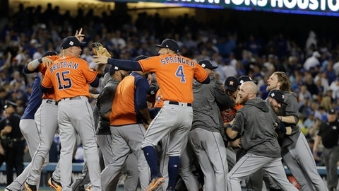 The Houston Astros celebrate after Game 7 of baseball's World Series against the Los Angeles Dodgers Wednesday, Nov. 1, 2017, in Los Angeles. The Astros won 5-1 to win the series 4-3. (AP Photo/David J. Phillip)