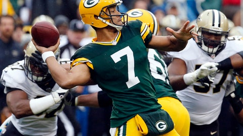 FILE - In this Sunday, Oct. 22, 2017, file photo, Green Bay Packers quarterback Brett Hundley (7) throws a pass during the first half of an NFL football game against the New Orleans Saints in Green Bay, Wis. NFC North rivals looking for fixes on offense face off on Monday night when the Detroit Lions visit the Green Bay Packers.  (AP Photo/Mike Roemer, File)