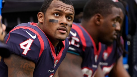 FILE - In this Sunday, Oct. 15, 2017, file photo, Houston Texans quarterback Deshaun Watson (4) sits on the sideline during an NFL football game against the Cleveland Browns in Houston. Two people familiar with the situation tell The Associated Press that Watson sustained a season-ending knee injury in practice on Thursday, Nov. 2, 2017.  The rookie suffered a torn anterior cruciate ligament in one of his knees and will go on the injured reserve. The people spoke on the condition of anonymity because the team hadn't announced the injury. (AP Photo/Eric Christian Smith, File)