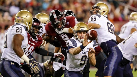 Navy's rushing TD streak comes to an end in loss to Temple