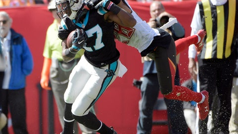 FILE - In this Sunday, Oct. 29, 2017, file photo, Carolina Panthers wide receiver Devin Funchess (17) is stopped by Tampa Bay Buccaneers cornerback Vernon Hargreaves during the second quarter of an NFL football game in Tampa, Fla. Funchess has become the Panthers No. 1 receiver after Kelvin Benjamin was traded to the Bills earlier this week. (AP Photo/Phelan Ebenhack, File)