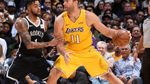 LOS ANGELES, CA - NOVEMBER 3:  Brook Lopez #11 of the Los Angeles Lakers handles the ball against the Brooklyn Nets on November 3, 2017 at STAPLES Center in Los Angeles, California. NOTE TO USER: User expressly acknowledges and agrees that, by downloading and or using this photograph, user is consenting to the terms and conditions of the Getty Images License Agreement. Mandatory Copyright Notice: Copyright 2017 NBAE (Photo by Adam Pantozzi/NBAE via Getty Images)