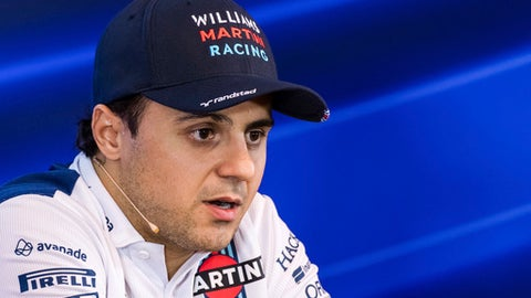 FILE - In this Thursday, Aug. 24, 2017 file photo, Williams driver Felipe Massa of Brazil speaks during a media conference at the Belgian Formula One Grand Prix in Spa-Francorchamps, Belgium. Formula One driver Felipe Massa will retire at the end of the season, it was announced on Saturday, Nov. 4, 2017. The 36-year-old Brazilian driver was originally going to retire from the Williams team last season, but changed his mind after Valtteri Bottas suddenly left Williams to join Mercedes. (AP Photo/Geert Vanden Wijngaert, file)
