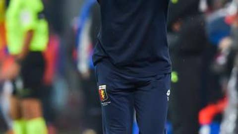 Genoa coach Ivan Juric reacts during a Serie A soccer match between Genova and Sampdoria at the Luigi Ferraris stadium in Genoa, Italy, Saturday, Nov. 4, 2017. Sampdoria won 2-0. (Simone Arveda/ANSA via AP)