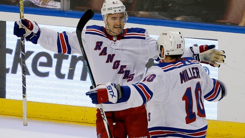New York Rangers defenseman Kevin Shattenkirk (22) celebrates his game-winning goal with teammate J.T. Miller (10) over the Florida Panthers in an NHL hockey game, Saturday, Nov. 4, 2017, in Sunrise, Fla. The Rangers won the game 5-4. (AP Photo/Joe Skipper)