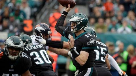 Philadelphia Eagles' Carson Wentz passes during the first half of an NFL football game against the Denver Broncos, Sunday, Nov. 5, 2017, in Philadelphia. (AP Photo/Matt Rourke)