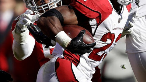 Arizona Cardinals running back Adrian Peterson (23) runs against San Francisco 49ers linebacker Reuben Foster during the first half of an NFL football game in Santa Clara, Calif., Sunday, Nov. 5, 2017. (AP Photo/Marcio Jose Sanchez)