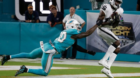 Oakland Raiders wide receiver Johnny Holton (16) grabs a touchdown pass as Miami Dolphins free safety Reshad Jones (20) attempts to defend, during the first half of an NFL football game, Sunday, Nov. 5, 2017, in Miami Gardens, Fla. (AP Photo/Lynne Sladky)