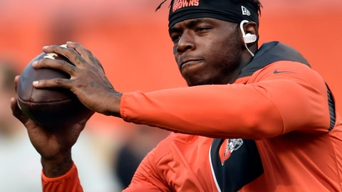 "FILE - In this Sept. 1, 2016, file photo, Cleveland Browns wide receiver Josh Gordon warms up before an NFL preseason football game against the Chicago Bears in Cleveland. On the cusp of his return from NFL suspension, Browns wide receiver Josh Gordon says he used drugs or alcohol before every game of his career, Monday, Nov. 6, 2017. Gordon, who was reinstated on a conditional basis last week by Commissioner Roger Goodell, tells GQ magazine he drank or smoked marijuana before games. He added ""a bunch of guys smoke weed before the game."" (AP Photo/David Richard, File)"