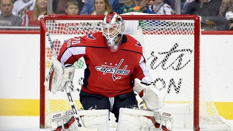 Washington Capitals goalie Braden Holtby (70) stops the puck during the second period of an NHL hockey game against the Arizona Coyotes, Monday, Nov. 6, 2017, in Washington. (AP Photo/Nick Wass)