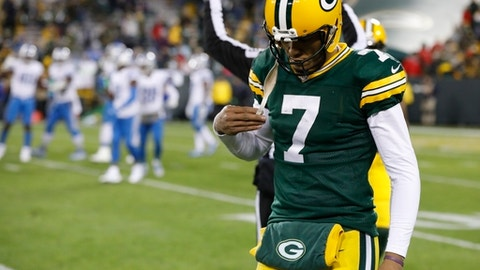 Green Bay Packers' Brett Hundley walks off the field during the second half of an NFL football game against the Detroit Lions Monday, Nov. 6, 2017, in Green Bay, Wis. The Lions won 30-17. (AP Photo/Mike Roemer)