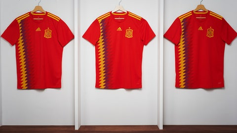 In this undated image, the Spain jersey that will be used in the World Cup. The jersey, that has the colors red, yellow and blue, has sparked controversy after being linked to the Republican flag of the 1930s. (Jose F. Vallejo/Adidas via AP)  .