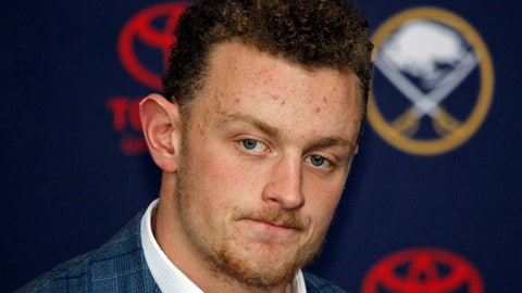 """FILE - In this Oct. 4,2017, file photo, Buffalo Sabres forward Jack Eichel addresses the media during an NHL hockey news conference, in Buffalo, N.Y. Eichel says frustrations are beginning to eat away at the Buffalo Sabres over their slow start to the season. Rather than sit and mope, or talk about the need to play better, the Sabres franchise player says, """"there's no better time than now"""" for the team to begin showing it on the ice. Eichel spoke Tuesday morning, Nov. 7, 2017, before Buffalo returned from a three-day break to host the Washington Capitals. (AP Photo/Jeffrey T. Barnes, File)"""