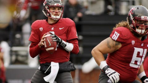 FILE - In this Saturday, Nov. 4, 2017 file photo, Washington State quarterback Luke Falk (4) looks for a receiver during the first half of an NCAA college football game against Stanford in Pullman, Wash. Falk has set Washington State records for TD passes, passing yardage and total offense. He has set the Pac-12 record and now has 13,801 passing yards, and is one touchdown shy of USC's Matt Barkley for the league record for passing touchdowns with 116. (AP Photo/Young Kwak, File)