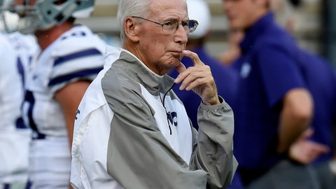 FILE - In this Sept. 16, 2017, file photo, Kansas State coach Bill Snyder watches as players warm up for an NCAA college football game against Vanderbilt in Nashville, Tenn. Snyder has not said who his quarterback will be when Kansas State plays West Virginia on Saturday, Nov. 11, in Manhattan, Kansas. (AP Photo/Mark Zaleski, File)