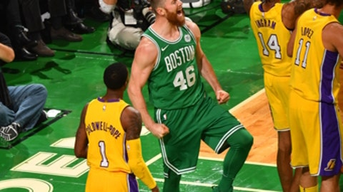 BOSTON, MA - NOVEMBER 8: Aron Baynes #46 of the Boston Celtics is pumped up after the play during the game against the Los Angeles Lakers on November 8, 2017 at the TD Garden in Boston, Massachusetts. NOTE TO USER: User expressly acknowledges and agrees that, by downloading and or using this photograph, User is consenting to the terms and conditions of the Getty Images License Agreement. Mandatory Copyright Notice: Copyright 2017 NBAE (Photo by Jesse D. Garrabrant/NBAE via Getty Images)